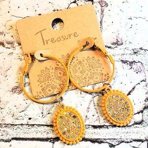 Mustard yellow sparkle pendant hoop earrings